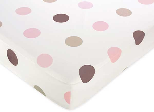 Pink and Brown Mod Dots Crib Sheet