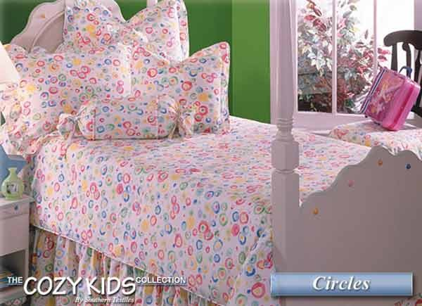 Circles 3 Piece Twin Size Bedding Set - Clearance
