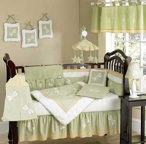 Sage Green Dragonfly Dreams Crib Bedding Set by Sweet Jojo Designs - 9 piece
