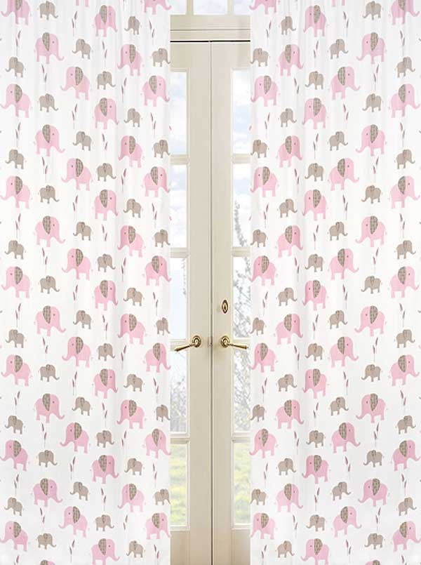Elephant Pink & Taupe Window Panels