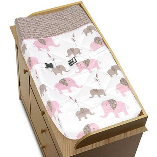 Elephant Pink & Taupe Changing Pad Cover