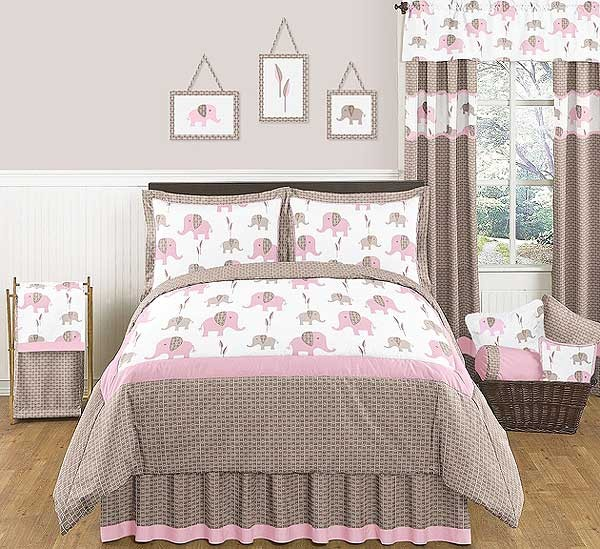 Elephant Pink & Taupe Bedding Set - 4 Piece Twin Size By Sweet Jojo Designs