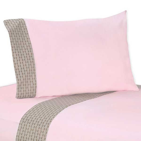 Elephant Pink & Taupe Twin Size Sheet Set