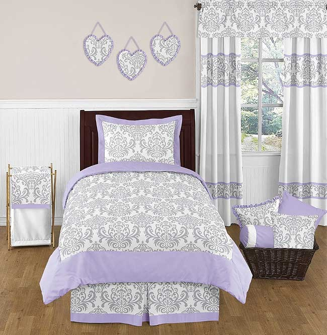 Lavender Amp Gray Elizabeth Bedding Set 4 Piece Twin Size