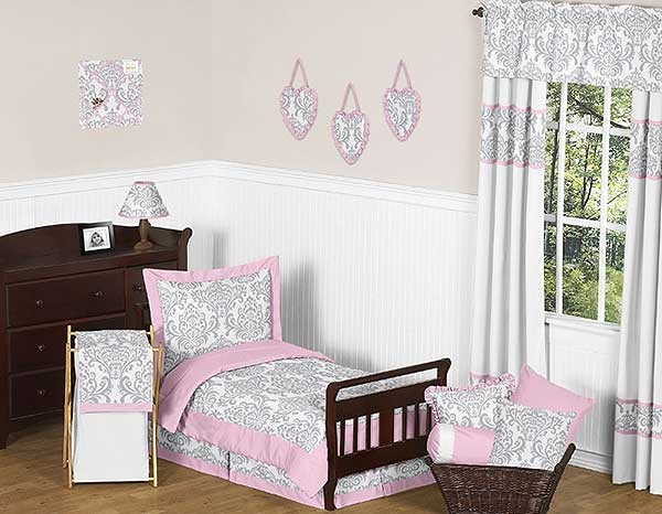 Pink & Gray Elizabeth Toddler Bedding Set By Sweet Jojo Designs