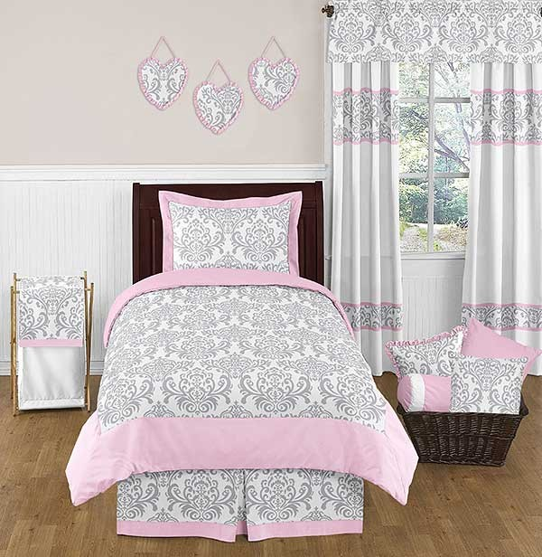 Pink & Gray Elizabeth Bedding Set - 4 Piece Twin Size By Sweet Jojo Designs