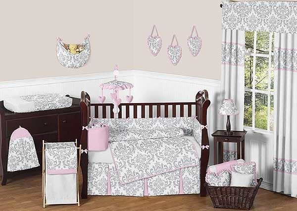 Pink & Gray Elizabeth Crib Bedding Set by Sweet Jojo Designs - 9 piece