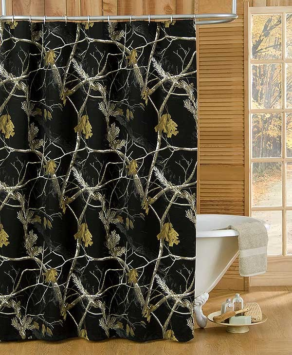 AP Black and White Camouflage Shower Curtain