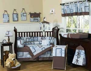 Geo Blue Crib Bedding Set by Sweet Jojo Designs - 9 piece