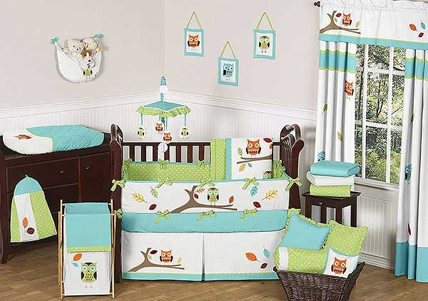 Hooty the Owl Crib Bedding Set by Sweet Jojo Designs - 9 piece