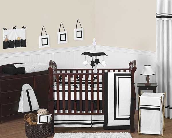Hotel White & Black Baby Bedding Set by Sweet Jojo Designs - 9 piece