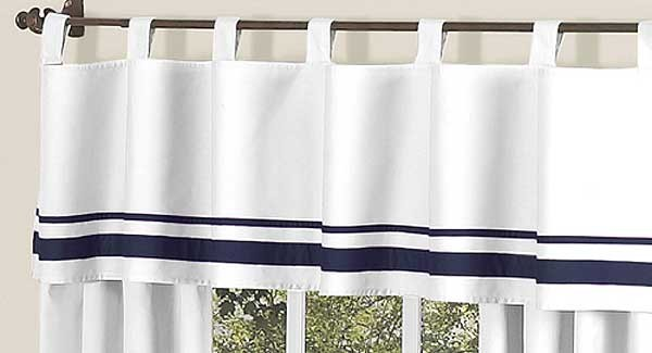 Hotel White & Navy Blue Valance