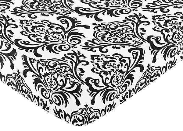 Isabella Black Crib Sheet - Choose Damask Print, Black or White