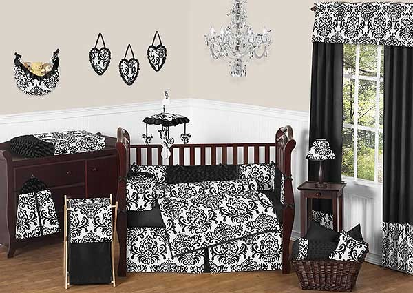 Isabella Black Crib Bedding Set by Sweet Jojo Designs - 9 piece