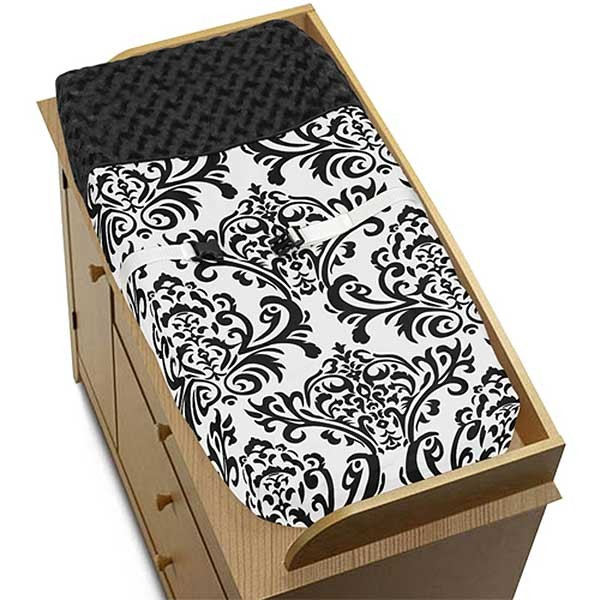 Isabella Black Changing Pad Cover