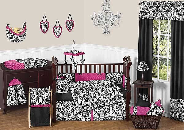 Isabella Pink Crib Bedding Set by Sweet Jojo Designs - 9 piece