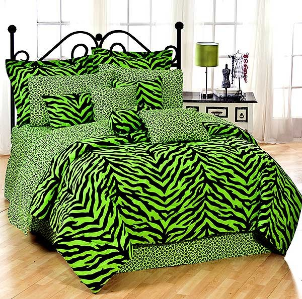 Queen Size Lime Green Zebra Print Bed In A Bag Set