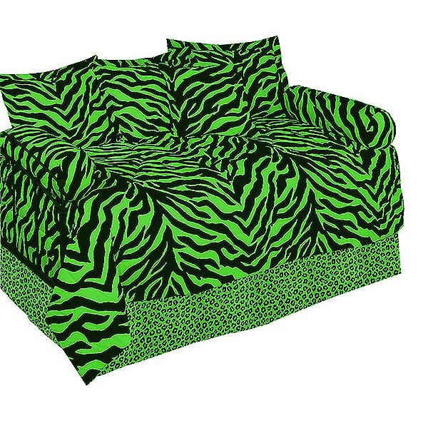 Lime Green Zebra Print Daybed Set