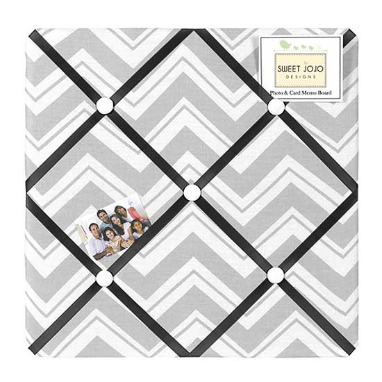 Zig Zag Black & Gray Chevron Print Fabric Memo Board