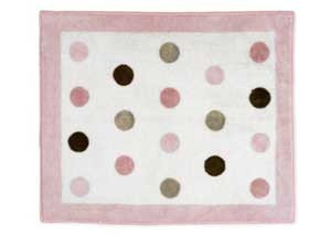Pink and Brown Mod Dots Floor Rug