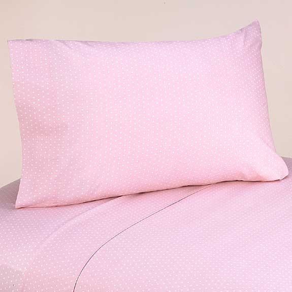 Pink and Brown Mod Dots Twin Size Sheet Set