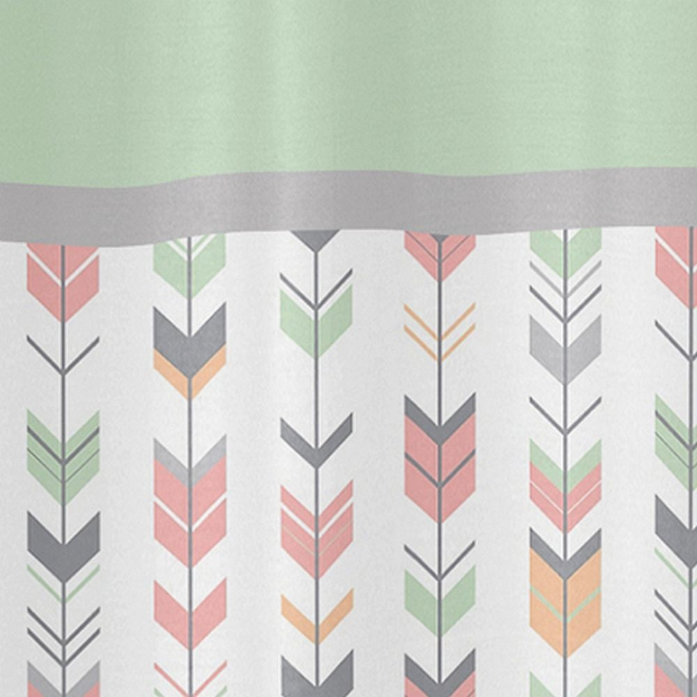 Mod Arrow Gray Coral Amp Mint Shower Curtain