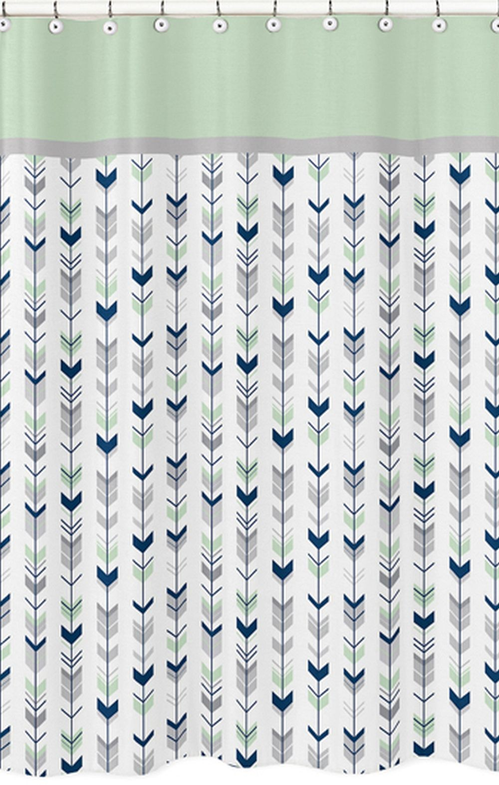 Mod Arrow Gray Navy Mint Shower Curtain Blanket Warehouse