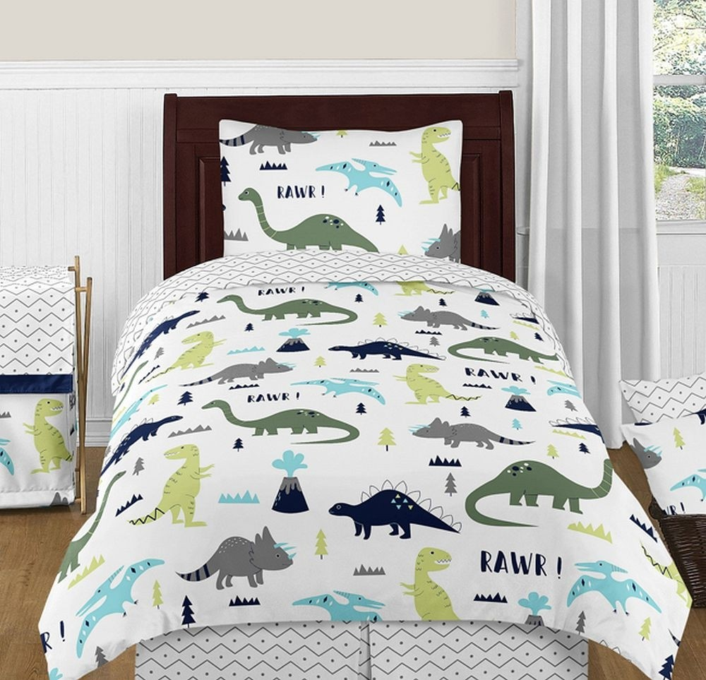 Mod Dinosaur Blue Amp Green Bedding Set 4 Piece Twin Size