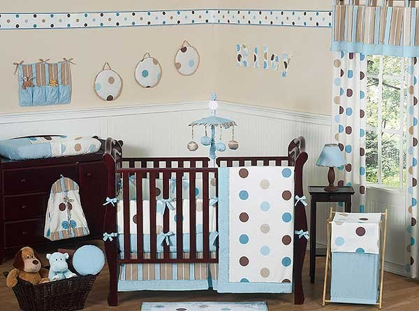 Blue and Brown Mod Dots Crib Bedding Set by Sweet Jojo Designs - 9 piece