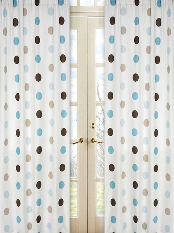 Blue and Brown Mod Dots Window Panels