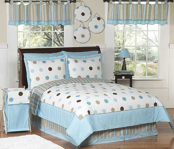 Blue And Brown Bedroom Set blue and brown mod dots comforter set - 3 piece full/queen size