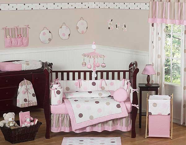 Pink and Brown Mod Dots Crib Bedding Set by Sweet Jojo Designs - 9 piece