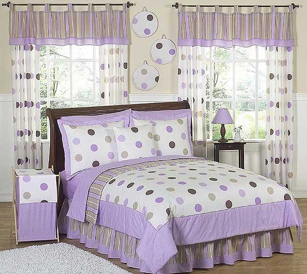 Lavender Mod Dots Bedding Set - 4 Piece Twin Size By Sweet Jojo Designs
