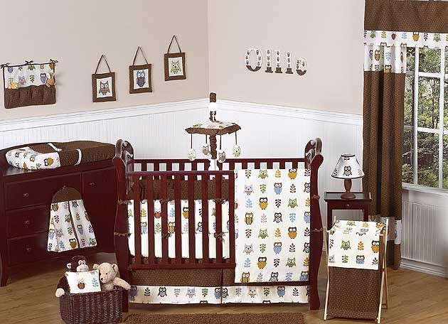 Owl Crib Bedding Set by Sweet Jojo Designs - 9 piece