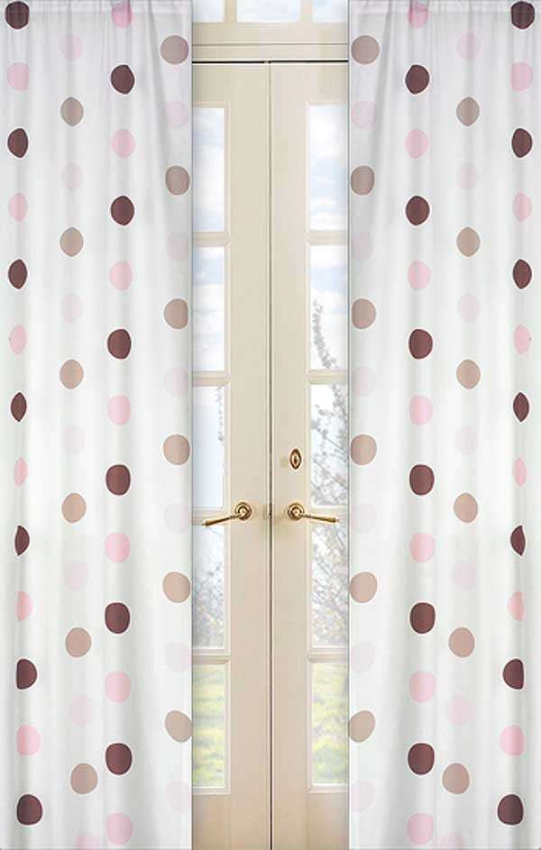 Pink and Brown Mod Dots Window Panels