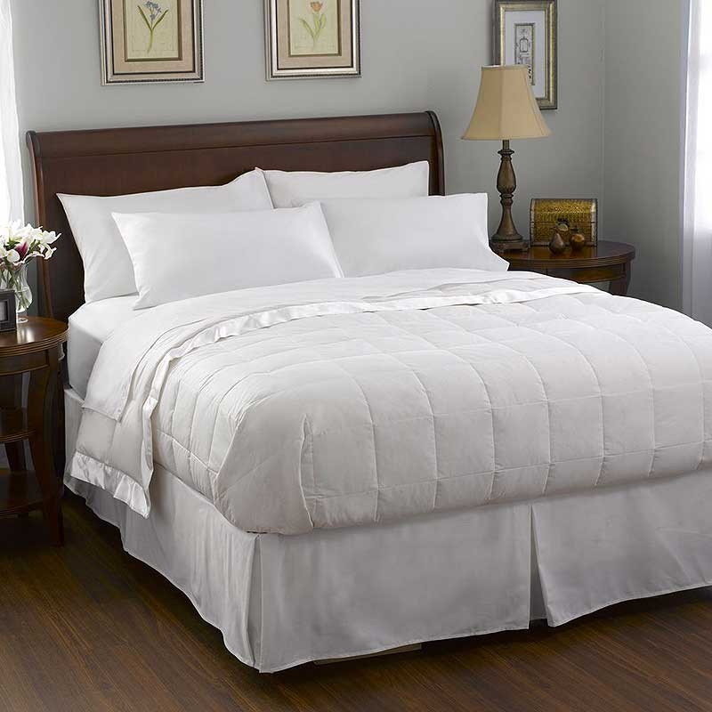 Pacific Coast Satin Trim Down Blanket - White - Queen Size
