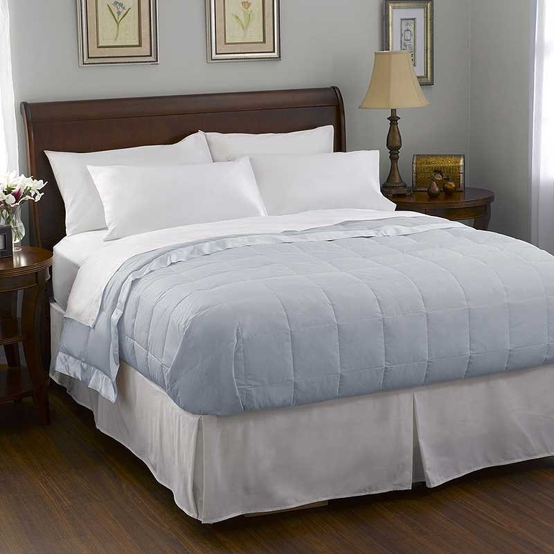 Pacific Coast Satin Trim Down Blanket - Blue - Queen Size