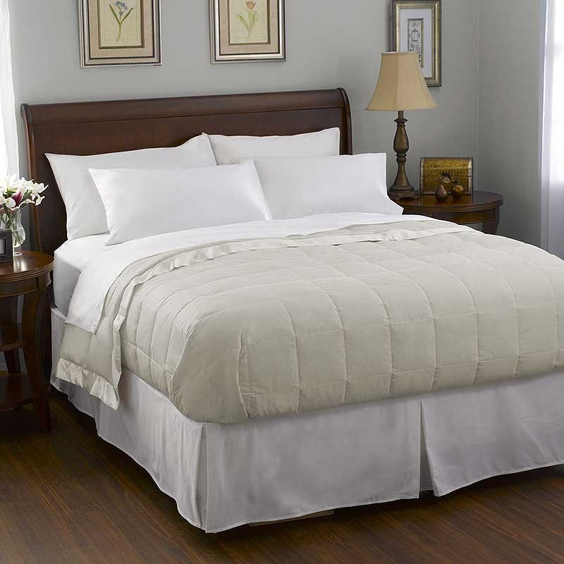Pacific Coast Satin Trim Down Blanket - Cream - Twin Size