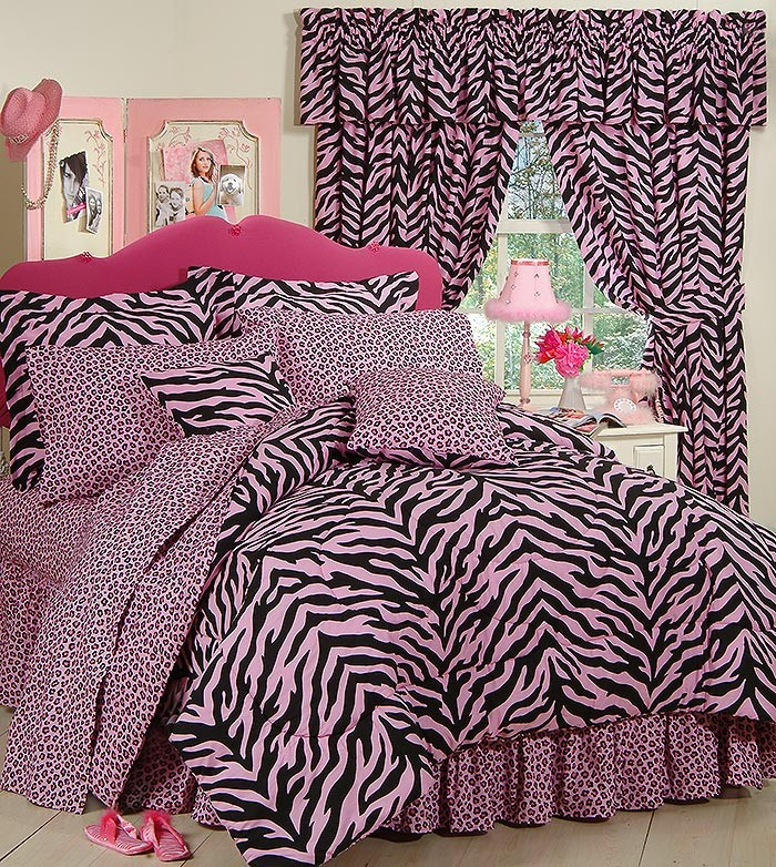 Queen Size Pink Zebra Print Bed In A Bag Set Bed Bag
