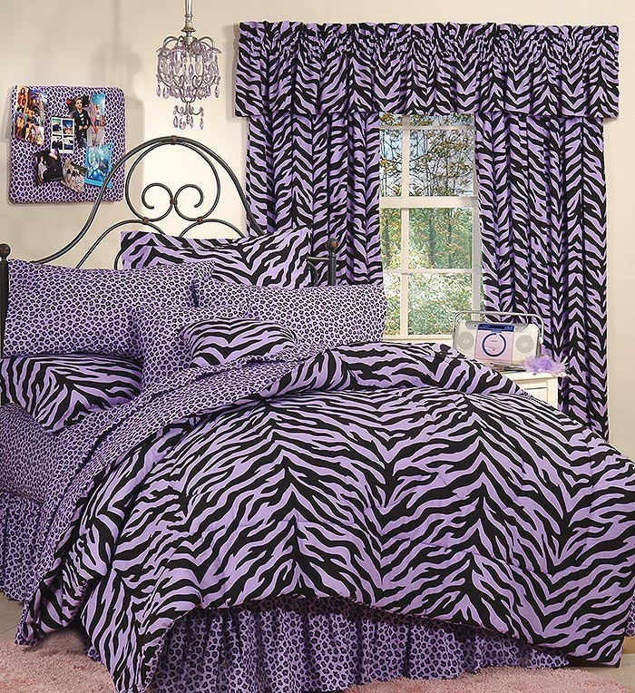 Black & Purple Zebra Bed in a Bag Set - Extra Long Twin Size