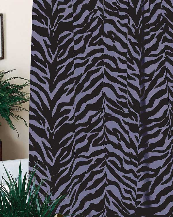 Black & Purple Zebra Shower Curtain