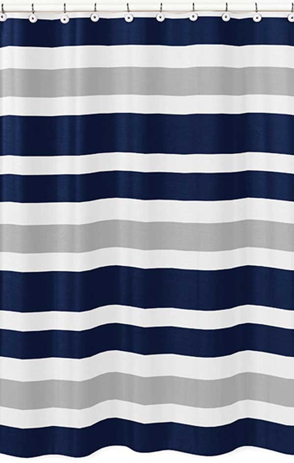 Navy Amp Gray Stripe Shower Curtain