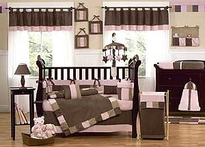 Soho Pink and Brown Crib Bedding Set by Sweet Jojo Designs - 9 piece