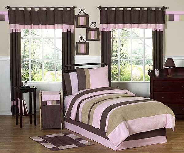 Soho Pink and Brown Bedding Set - 4 Piece Twin Size By Sweet Jojo Designs