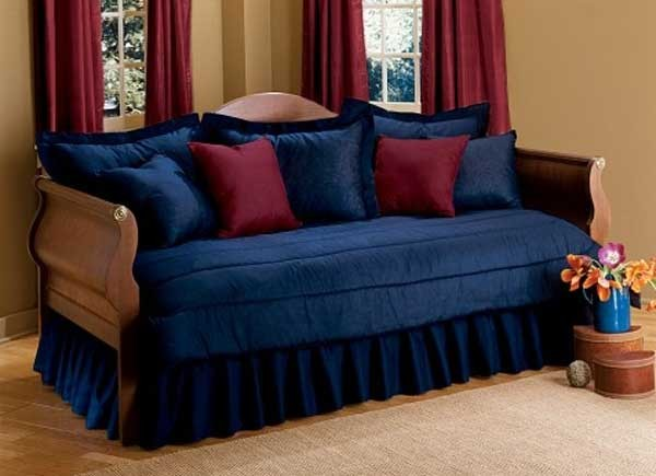 Daybed Set is shown in Navy Blue, with Burgundy Accent Pillows (shown with Ruffled Bedskirt)