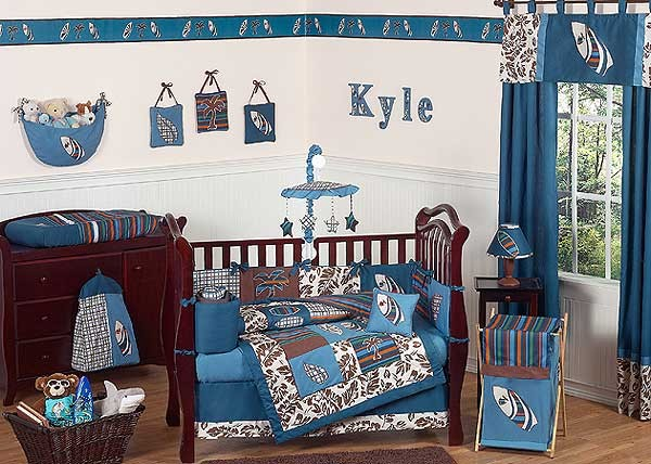 Surf Blue and Brown Crib Bedding Set by Sweet Jojo Designs - 9 piece