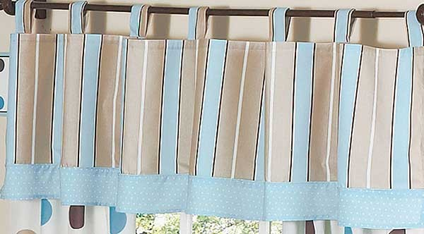 Blue and Brown Mod Dots Valance