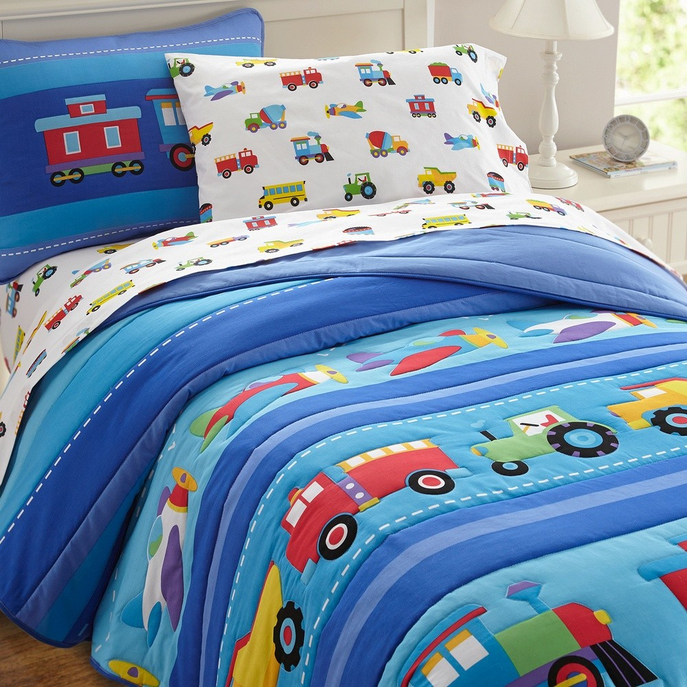Olive Kids Trains Planes Trucks Toddler Comforter Boys Bedding Preschool Bed Sets