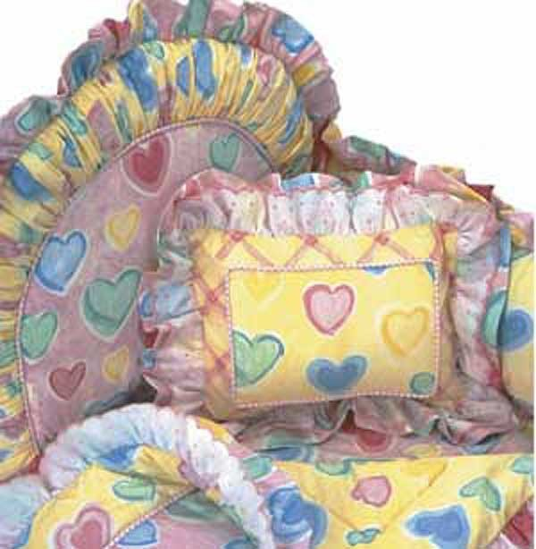 Watercolor Hearts 4 Piece Crib Bedding Set (Hollywood Bumper) by California Kids