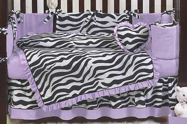 Purple Zebra Print Baby Bedding Set